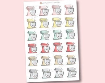Kitchenaid Mixer Stickers - Kawaii Baking / Cooking planner stickers, Erin Condren stickers, Personal Planners