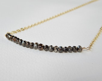 Faceted Pyrite Bar Necklace - Gold Filled Beaded Necklace Beadwork Necklace Line Necklace Bead Necklace