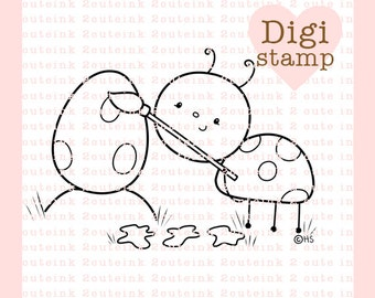 Easter Egg Painting Digital Stamp - Ladybug Digital Stamp - Digital Easter Stamp - Ladybug Art - Easter Card Supply - Easter Craft Supply