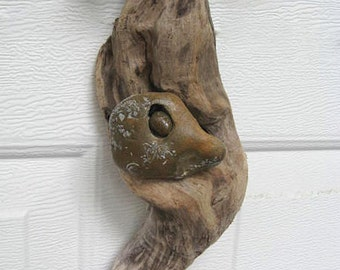 Driftwood Mobile With Rock Face-DC1113