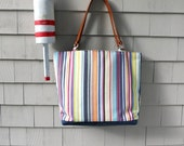 Large tote, leather handles, striped tote, nautical tote, beach tote, boat tote, in indoor outdoor fabric from Spain