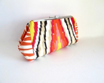 Trina Turk outdoor fabric, abstract clutch, resort clutch, vibrant clutch, orange clutch, pink clutch, evening bag, fabric by Schumacher