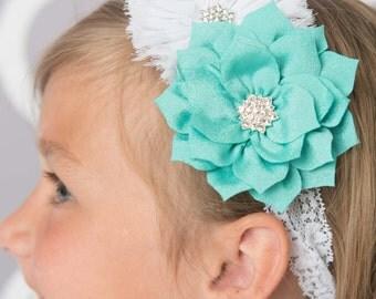 Teal Headband, white headband, flower headband, white Elastic headband, wedding flower girl gift, baby headband, infant headband, toddler