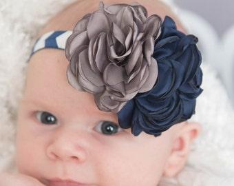 Navy elastic headband, toddler headband, grey headband, flower girl headband, baby headband, flower headband, womens headband, rose headband