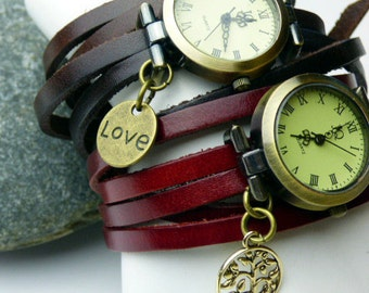 Leather Wrap Around Wrist Watch - Chocolate Brown Wrap Watch or Red Leather Wrist Watch - Tree of Life or Love Heart Charm