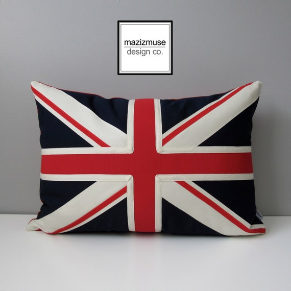 Union Jack Pillow Cover, British Flag, UK Flag, Red White Blue, Decorative Pillow Case, Britain London Sunbella Outdoor Cushion Cover 14x20
