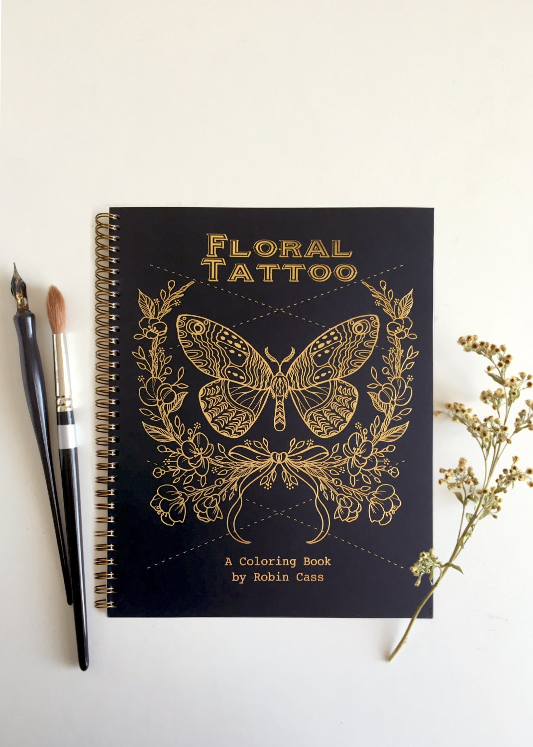 Adult Coloring Book Floral Tattoo Gold Foil Cover 44
