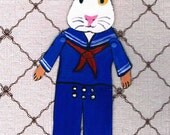 Guinea Pig, Christmas Ornament, One of a Kind Paper Doll, Collectible Art Doll, OOAK Christmas Decoration, Gift tag, Wrapping decor