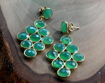 Apple Green Chalcedony Post Earrings.....LIMITED EDITION