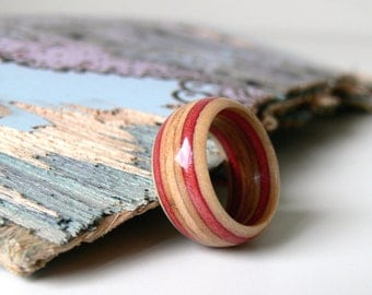 Womens Wooden Ring Handmade  Recycled Skateboard Maroon Pink Size 7 1/2