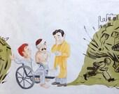 ORIGINAL painted illustration plus BOOK - Sidney Nolan, Australian modernist artist in hospital during WW2