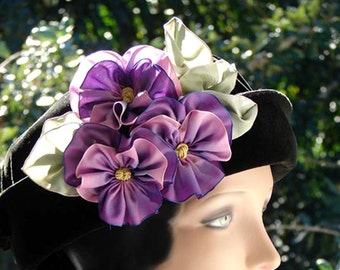 3 Ribbon Pansies, Plum to Orchid Color, Green Leaves, Contrived Fabric Flowers, Millinery, Embellishment, Hat Trim, Hair