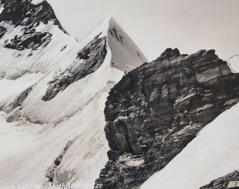 Photo Postcards From Jungfrau Mountain, Alps, Black And White Photography, Swiss Souvenir, Mountain Photograph, Cabin Decor