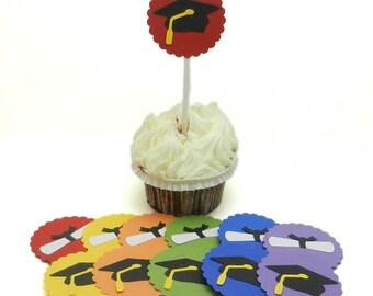 Graduation Cupcake Topper - Set of 12 - Graduation Cap and Diploma - Graduation Party Decorations - Choose you color - Graduation Hat or Cap
