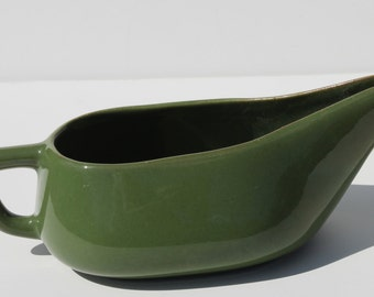 Vintage Mid Century Olive Green California Pottery Large Gravy Boat Pitcher