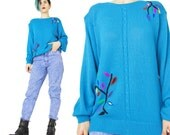 80s Cobalt Blue Sweater Embroidered Pullover Sweater Vintage 1980s Blue Sweater Novelty Trees Leaves Colorful Cable Knit Jumper Womens (S/M)