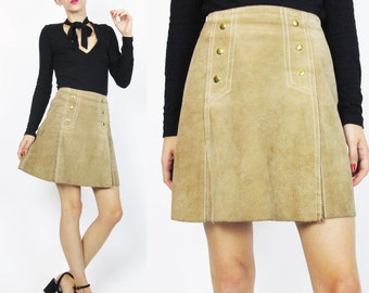 1960s Suede Mini Skirt Tan Leather Skirt Hippie Boho Leather Mini Skirt Vintage High Waist Skirt A Line Metal Snap Front Skirt XS E456