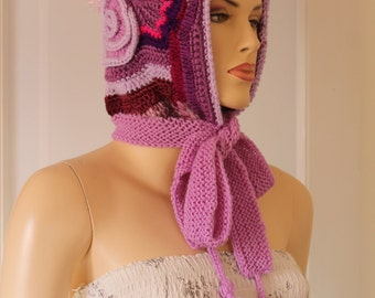 Purple Lilac  Freeform  Crochet  Hood -  Hooded Scarf - Hat - Ear Flap - Winter Accessories - OOAK