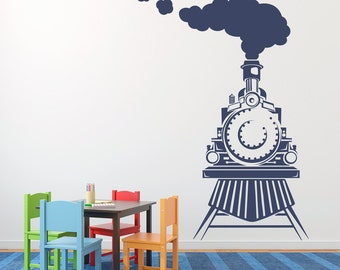 Train Wall Decal - Front view of Train Decal - Train Bedroom Decal - Boy Wall Sticker - Train Decor