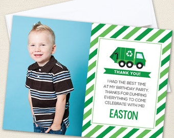 Garbage Truck Photo Thank You Cards - Professionally printed *or* DIY printable