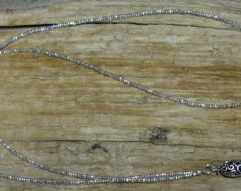 Silver Clear Filigree Glass - Handmade Beaded ID Badge Holder Lanyard