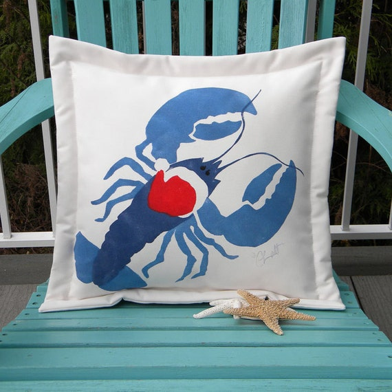 Christmas pillow lobster Santa ships tomorrow outdoor ho ho ho 20 inches lobstah crustacean claws seafood bisque Maine Crabby Chris Original