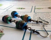 Dreamworld Earrings using colorful natural stones and shells
