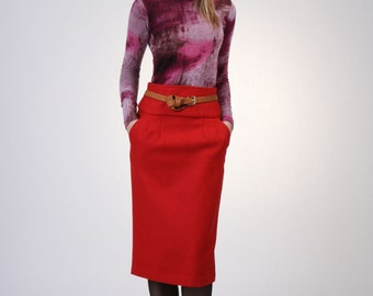 High Waist Pencil Skirt with Pockets, Red Wool Skirt,  Wool Skirt, Office Skirt, Straight Skirt, Tailored Skirt - Red Tweed Wool
