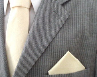 Solid Ivory Cream Pocket Square