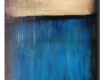 Original Large Abstract painting - 24X 36 Artist JMJartstudio- Corrosion -Wall art -blue  painting