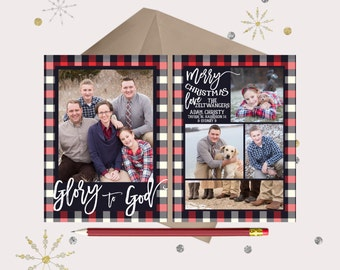 Plaid Christmas Photo Card · Navy Blue & Red · Glory to God Christmas Cards