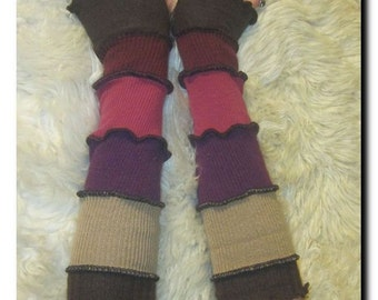 Arm Wrist Warmers - Wool and Cotton - Brown, Tan, Purple, Pink, & Maroon Fingerless Gloves  - One of a Kind and Reversible
