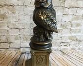 Owl statue, statue with stand, stately statue, rhinestones, tiara, unique owl decor, farmhouse, wedding table decor,glamorous decor,pedestal