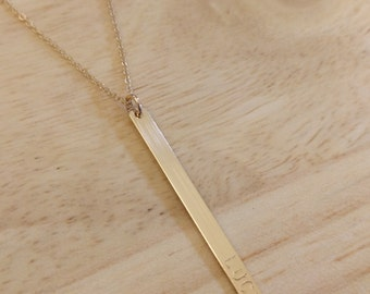 Personalized Bar Necklace - Gold Long Necklace - New Mom Gift - Kids Name Necklace - Gold Engraved Jewelry Vertical Bar Minimalist Jewelry