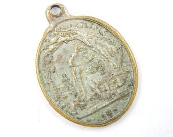 RARE Antique Saint Anthony the Great - Guardian Angel Catholic Medal - Orthodox Saint - St Anthony with Pig - Catholic Jewelry V84