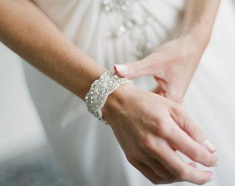 Dina Wedding Bridal Rhinestone Crystal Bracelet Cuff with Button Closure