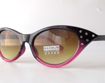 vintage 90's sunglasses cat eye plastic frames hot pink fuschia black rhinestones skinny women fashion accessory accessories retro modern