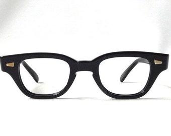 vintage 1950's NOS horn rim eyeglasses black plastic frames childrens kids youth prescription mid century modern retro eye glasses eyewear