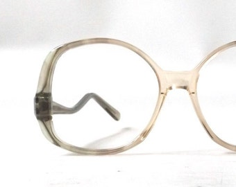 vintage 1970's NOS eyeglasses oversized round clear moss olive green peach plastic frame women eyewear retro eye glasses mid century neutral