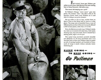 1942 United States Marine Corps Advertisement Print Poster Ad WWII Pullman Train Advertisement Militaria Print Ad Poster Wall Art Home Decor