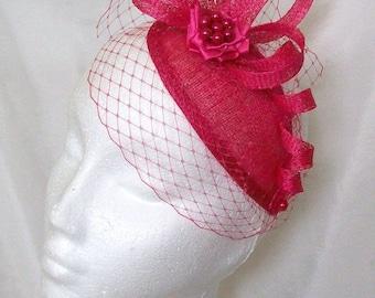 Cerise Pink Veil Sinamay Loop & Pearl Teardrop 'Beatrice' Wedding Fascinator Mini Hat - Made to Order