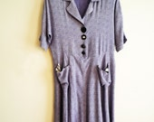 80s Baby Doll Dress Blue Print Oversized Buttons, SALE