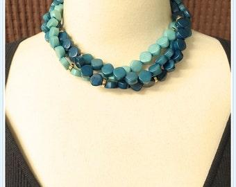 Vintage Triple Strand Turquoise Choker, Aqua, Torsade, Multi Color Beads, 1980's