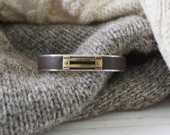 Men's Preppy Equestrian Leather Metal Cuff Bracelet - Soft Brown
