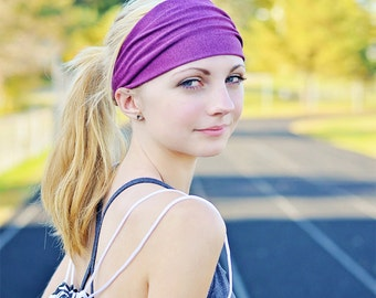 Athletic Head Wrap Big Head Headscarf Cute Hair Band Fabric Head Scarf Fitness Headband Plain Headwrap Fuchsia Purple (#1208) S M L X