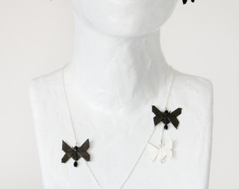 Monochromatic Butterflies - necklace, bracelet and earrings