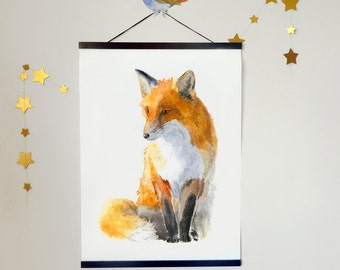 Fox Print and Hanger, size A2 or 16x 20, Print on Canvas with Magnetic Hanger of Your Choice