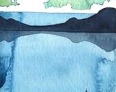 Sea Kayak - Landscape Study - Original Watercolor Painting