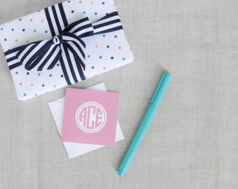 Monogram Gift Enclosure Cards | Square Folded Note Cards | Mini Note Cards | Set of 25 | Folded Stationery | Personalized Gift | Solid Color