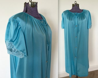 Vintage 1980s Lorraine Light Blue Peignoir Nighty Nightgown - Large